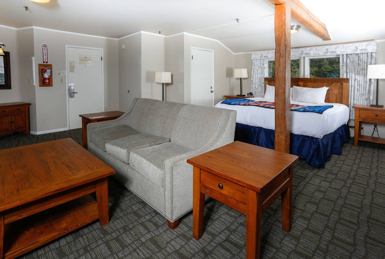 Enjoy spacious rooms, like Becker's Suite, in the main lodge at Kalaloch Lodge.