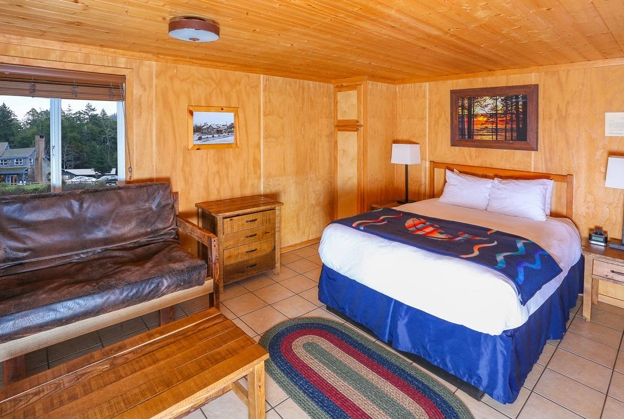 Enjoy the warm and rustic cabin interiors at Kalaloch Lodge.