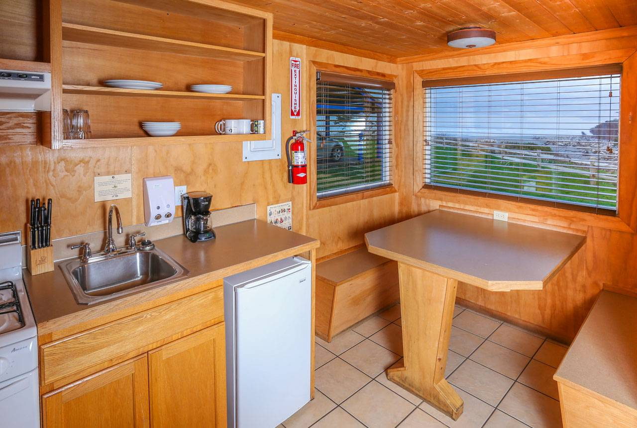 Most of our cabins have full kitchens and kitchenettes, and come equipped with plates, cups, silverware, and more.