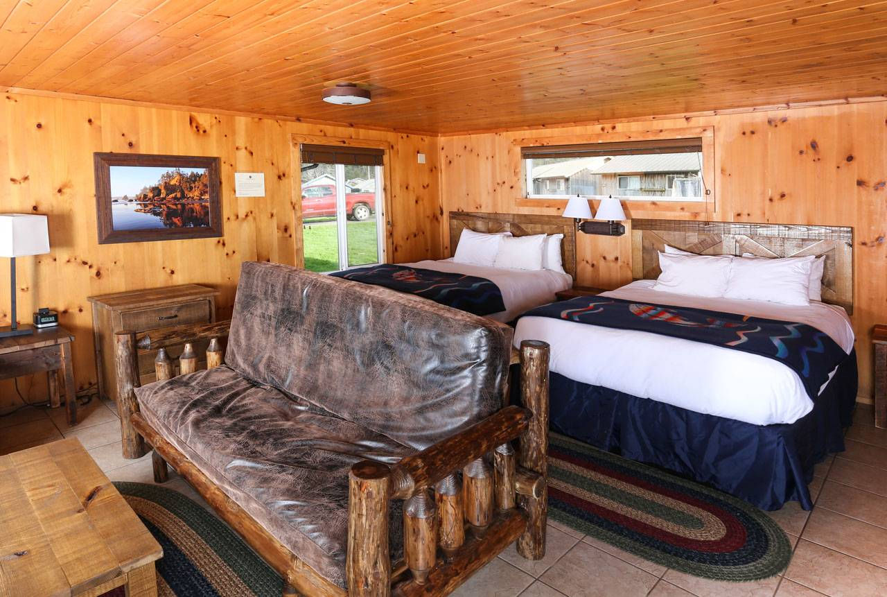 Bluff Cabins feature a variety of bedding configurations, sleeping up to 8 people.