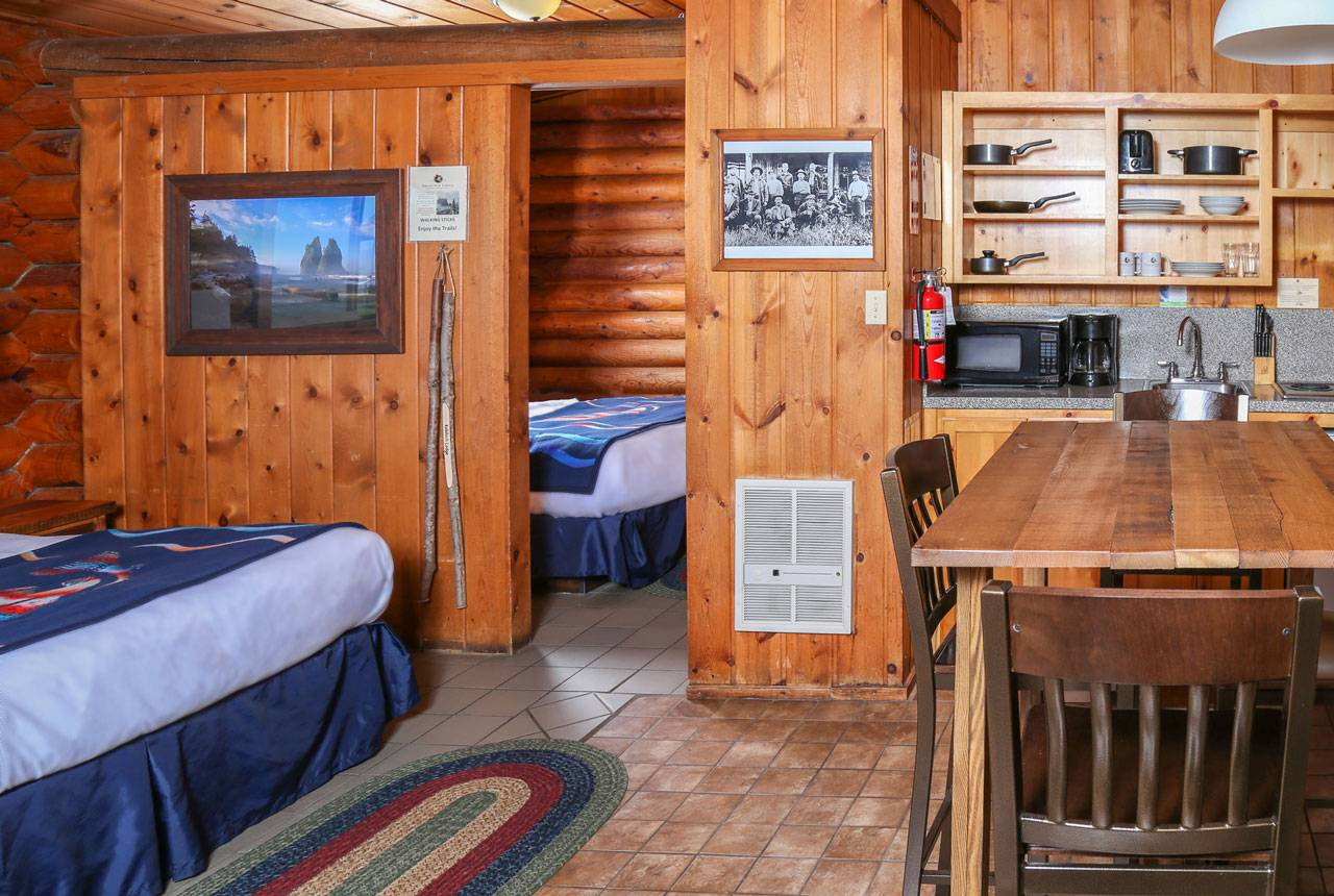 Kalaloch Cabin interior with the comforts of home in Olympic National Park.