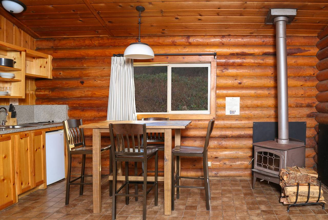Kalaloch Lodge Cabins come with a kitchen or kitchenette, dining area and a wood stove.