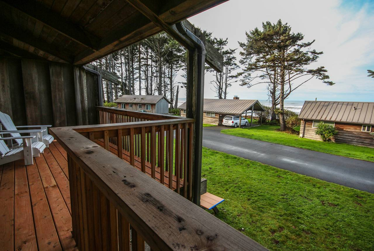 Seacrest House balcony-views look out past Kalaloch Cabins to the ocean.