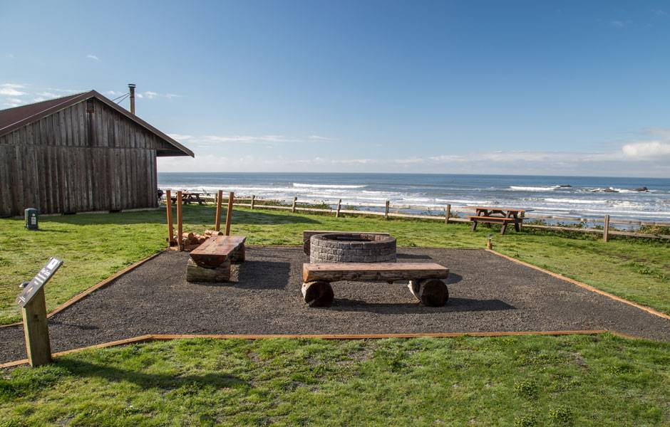 Outside the cabin area is a beautiful new outdoor fire circle for guests at Kalaloch Lodge to enjoy and meet each other.