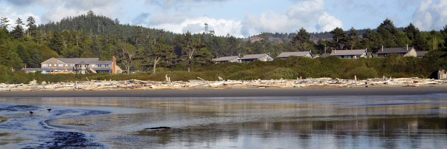 View of Kalaloch Lodge and beach from the water