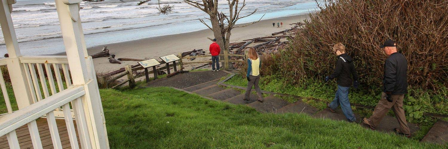 Groups of people gather by the gazebo or head down to Kalaloch beach for fun and exciting events at Kalaloch Lodge.