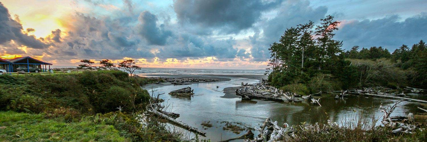 Activities and Attractions start only steps from Kalaloch Lodge, with enjoying Kalaloch Creek and a sunset over the ocean.