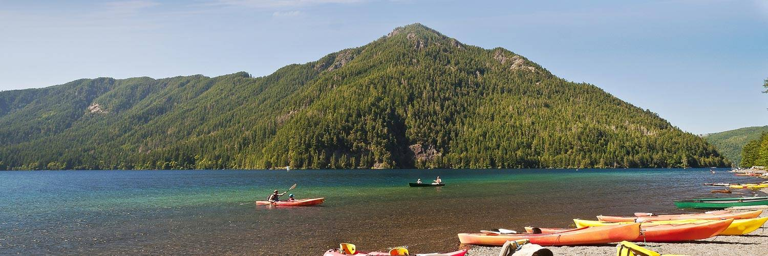 Explore Lake Quinault by kayak on your way to Kalaloch Lodge.
