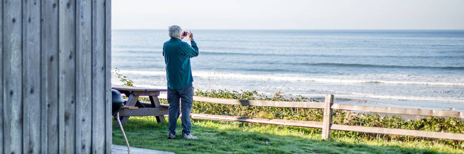 Capture beautiful ocean images just steps from your door at the Kalaloch Lodge Bluff Cabins.