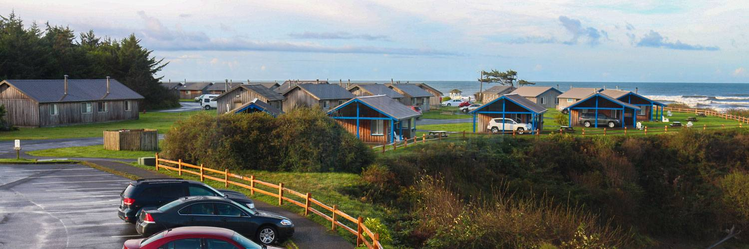 View of Kalaloch Cabins and the ocean from Kalaloch Lodge.