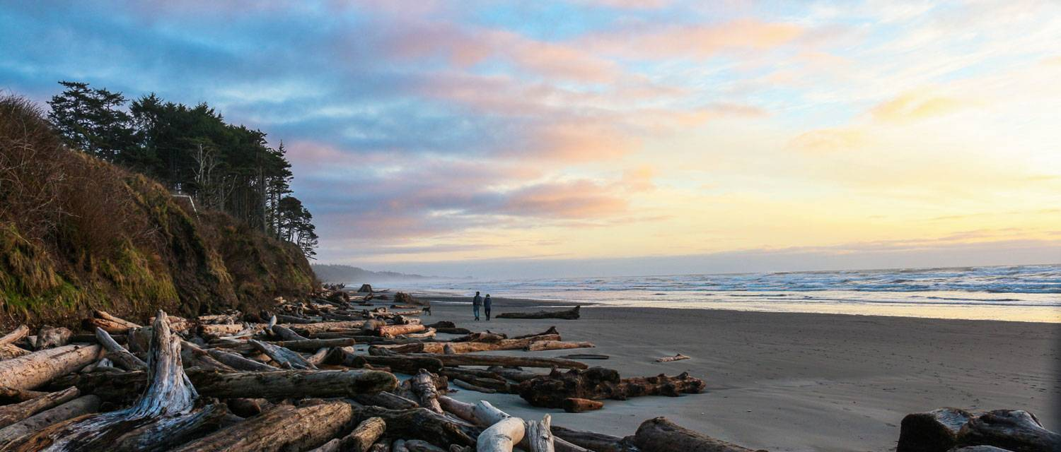 Walk Kalaloch Lodge's inviting driftwood edged beaches at sunset.