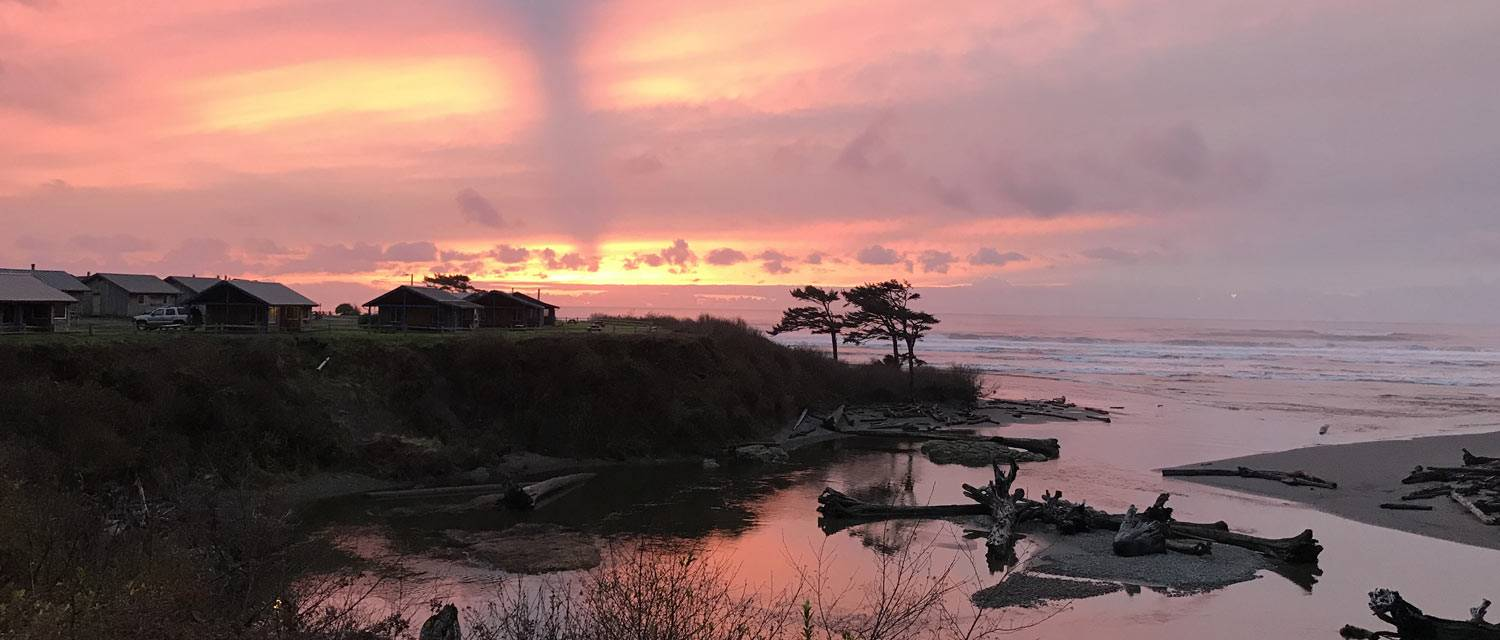 Sunset over cabins at Kalaloch Lodge