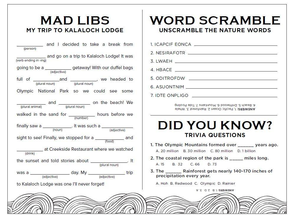 kalaloch kids activity page with word scramble trivia and mad libs