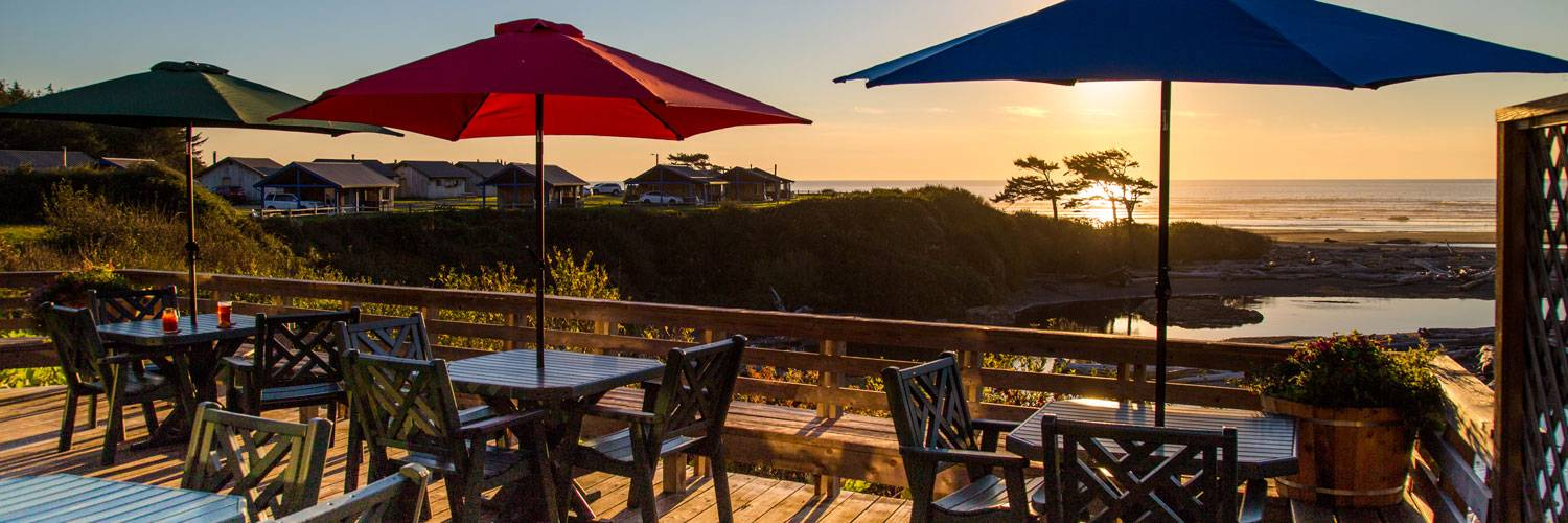 The deck at Creekside Restaurant is a great place to watch sunset over the ocean while enjoying dinner.