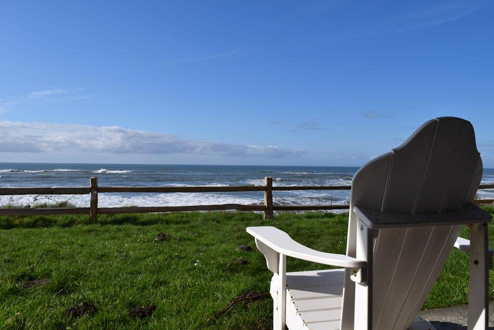 Kalaloch Lodge bluff cabins provide excellent views of the ocean from a comfortable chair on the deck.