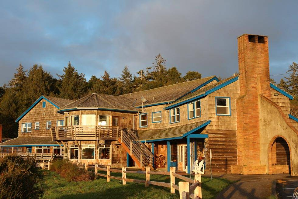 Kalaloch Lodge glows golden in the hour before sunset.