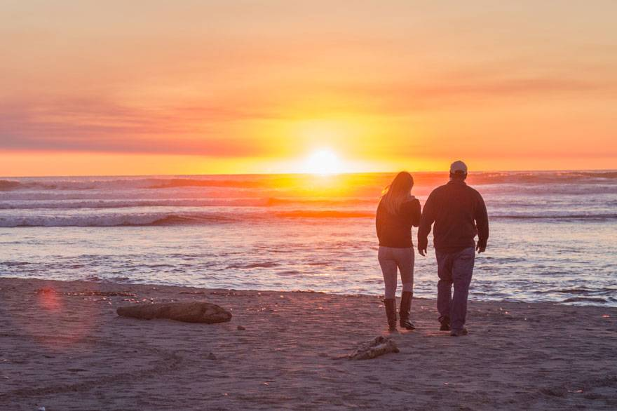 Enjoy simple activities right from Kalaloch Lodge including a beach walk at sunset.