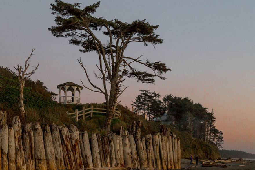 Exercise your AAA discount at Kalaloch Lodge and enjoy sunset views of the gazebo and bluffs at the Lodge.