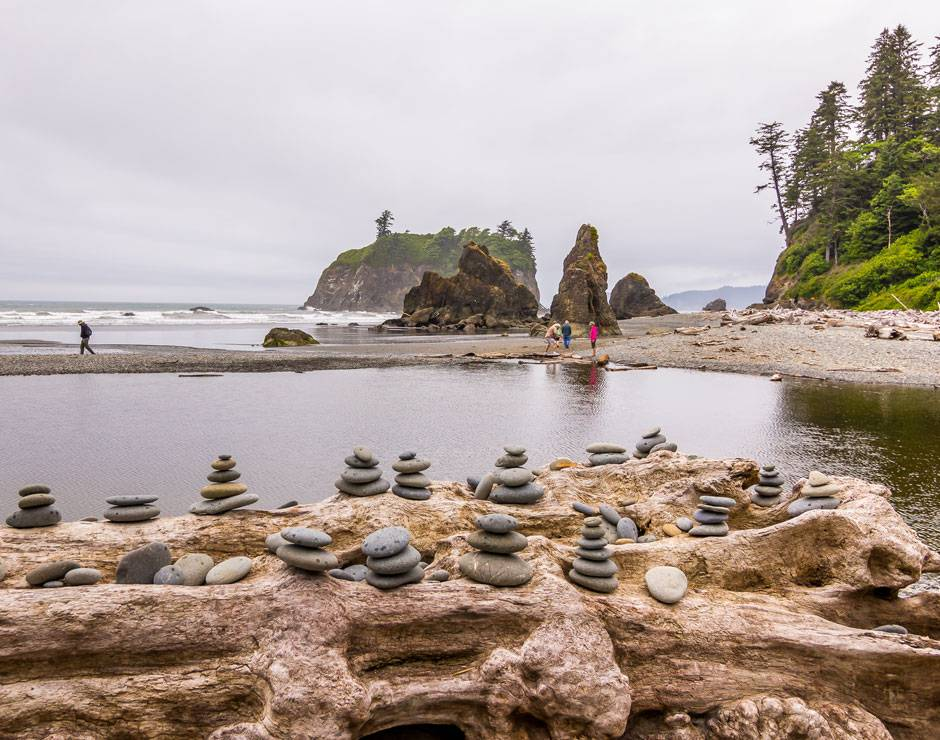 Explore the region near Kalaloch Lodge including the beautiful sea stacks at Ruby Beach.